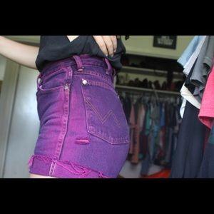 Distressed Purple wrangler cut offs fit a 27/28